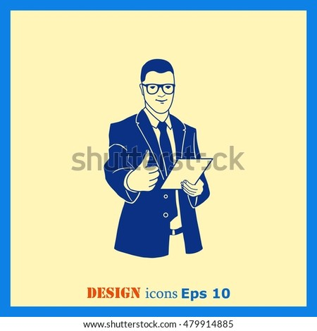 A successful leader. Illustration of businessman. Man in suit shows a sign Thumb Up. Vector illustration.