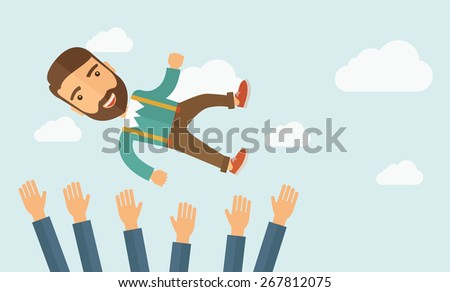 A successful smiling hipster Caucasian businessman with beard being throwing up to the sky by his teamwork or colleague. Happiness concept. A contemporary style with pastel palette soft blue tinted - stock vector