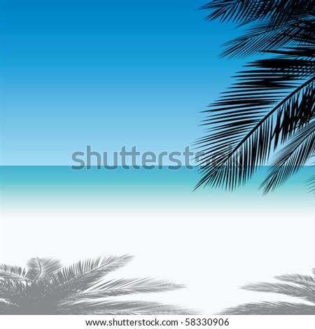 A sunny day in a paradise beach. - stock vector