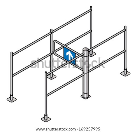 A supermarket entry turnstile / automated gate. - stock vector