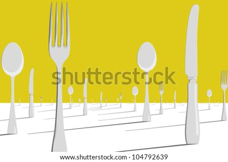 A surreal landscape of knives, forks and spoons standing upright as if planted as trees. - stock vector