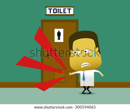 A Sweaty Man Knocked On The Toilet Door In Which There Is Person