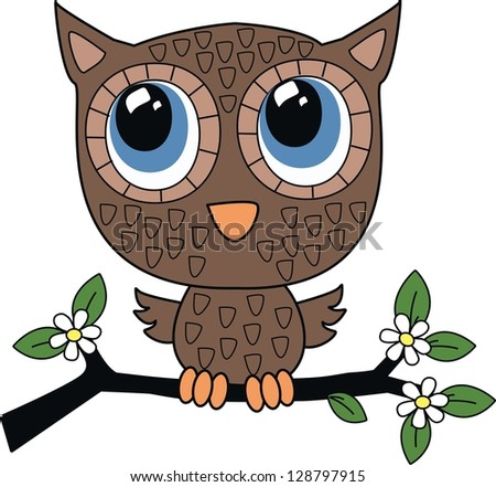 a sweet little brown owl - stock vector