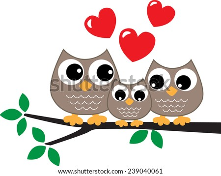 a sweet little owl family love - stock vector