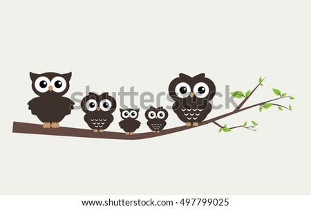 a sweet little owl family sitting on a branch/ wall sticker decoration or cover / Vector illustration