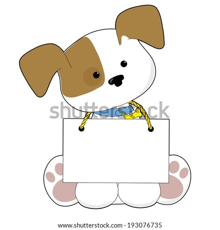A sweet little puppy sitting with a blank sign around its neck. There is room to add your own text. - stock vector