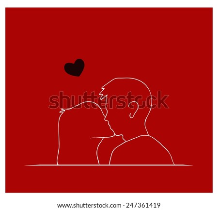 A Symbol of Love, Illustration of Romantic Happy Couple Kissing in Front of A Red Background.  - stock vector