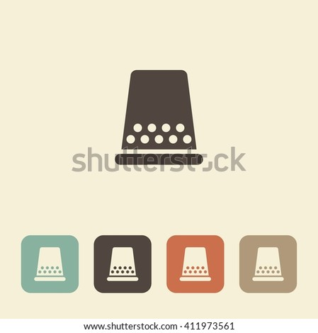 A symbol of sewing and needlework. Thimble - stock vector