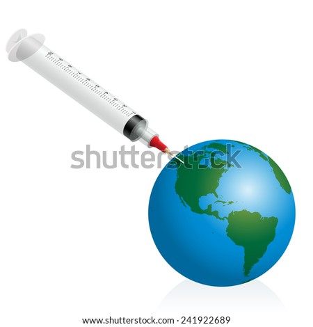 A syringe vaccinates planet earth as a symbol for pandemic disease vaccination. Isolated vector illustration over white background. - stock vector