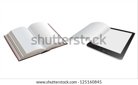 a tablet pc and book isolated on white as a education concept - stock vector