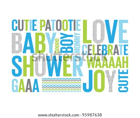 A Tagcloud with different words reffering to a baby boy shower - stock vector