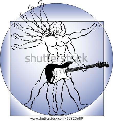 A take-off on DaVinci's vitruvian man, where the man plays a guitar - stock vector