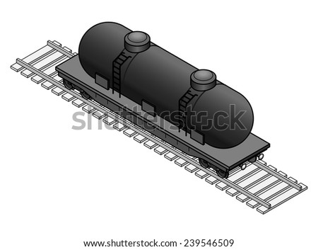 A tanker rail car. Black. - stock vector