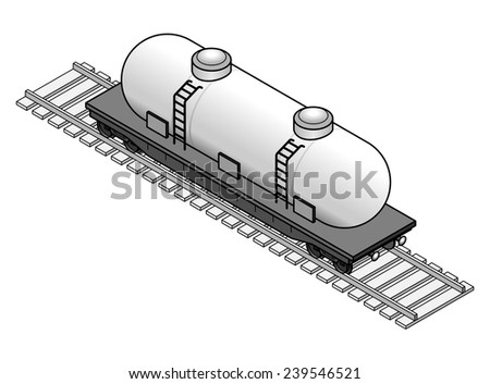 A tanker rail car. White. - stock vector