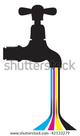 a tap with dripping cmyk lines