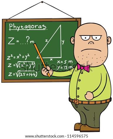 A teacher is teaching math. - stock vector