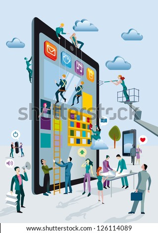 A team of people work creatively together building giant digital tablets, like skyscrapers, and creating the content. Other people download this content on their mobile devices. - stock vector