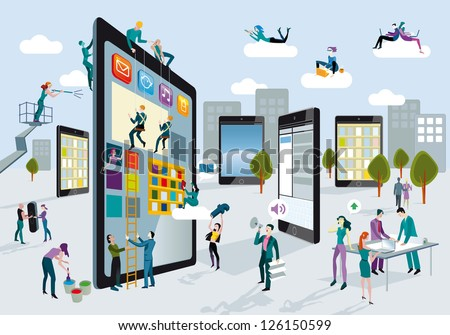 A team of people work creatively together building giant digital tablets, like skyscrapers, and creating the content. Other people download content on their mobile devices. Horizontal composition. - stock vector