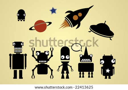 a team of robots 3 - stock vector