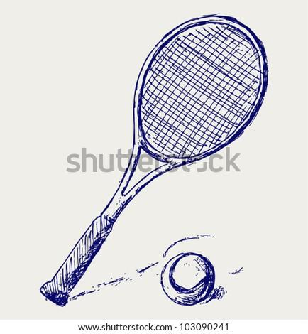 A tennis racket and ball - stock vector