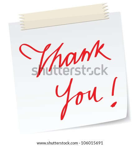 a thank you note message, with handwritten texts, for business concepts or customer service. - stock vector