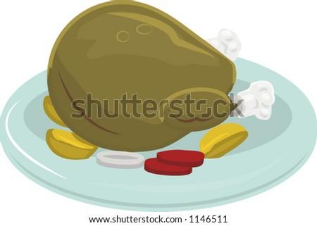 A thanksgiving or Christmas turkey - stock vector