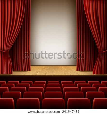 A theater stage with red curtain and red seats, EPS 10 contains transparency and mesh. - stock vector