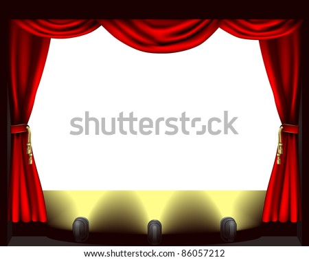 A theatre stage, lights and curtain illustration - stock vector