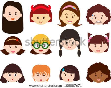 A Theme of cute vector Icons : Heads of Girls, Women, Kids (Female Set) Different ethnics, isolated on white background - stock vector