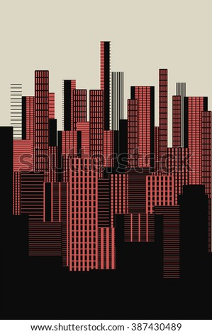 a three colors graphical abstract urban landscape poster in dark pink