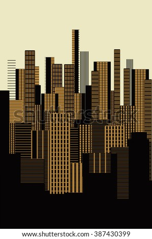 a three colors graphical abstract urban landscape poster in gold