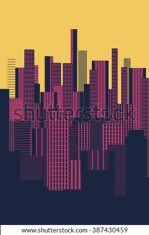 a three colors graphical abstract urban landscape poster in yellow and pink