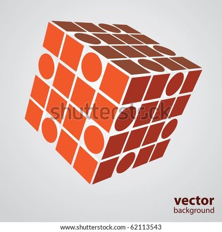 A three sided cube puzzle box in 3D - stock vector
