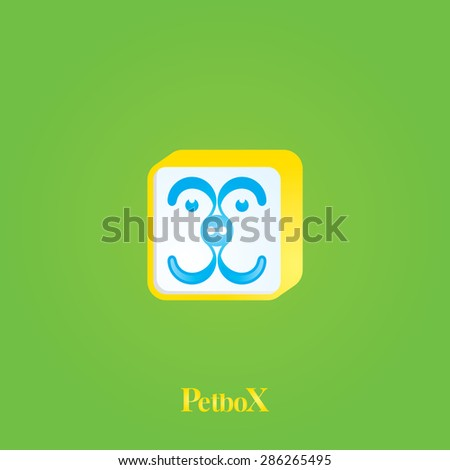 A tiny dog's face inside a box shape with green background, vector logo.