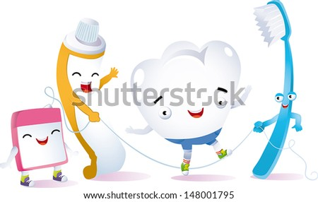 a tooth playing jumping rope with her best friends for dental hygiene - stock vector