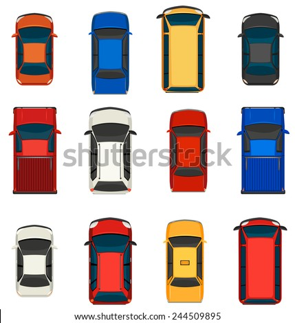 A topview of a group of vehicles on a white background - stock vector
