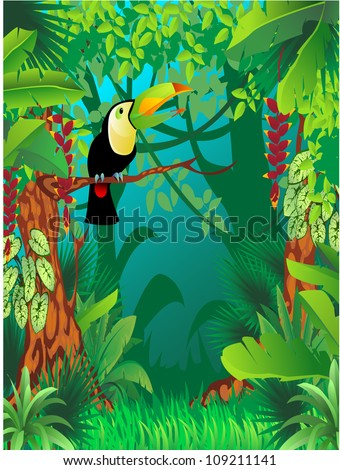 a toucan in exotic tropical forest - stock vector