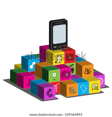 A touch - screen Smartphone on top of blocks with application logos on the side. - stock vector