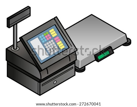 A touchscreen point of sale POS terminal with a digital scale. - stock vector