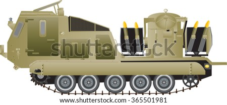 A Tracked Armoured Missile Launching Vehicle isolated on white