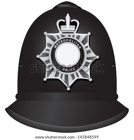A traditional authentic helmet of metropolitan British police officers. Vector illustration. - stock vector