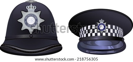 A traditional helmet of metropolitan British police officers - stock vector