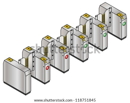 A train/metro/subway ticket barrier/gate designed for electronic rechargeable cards. - stock vector