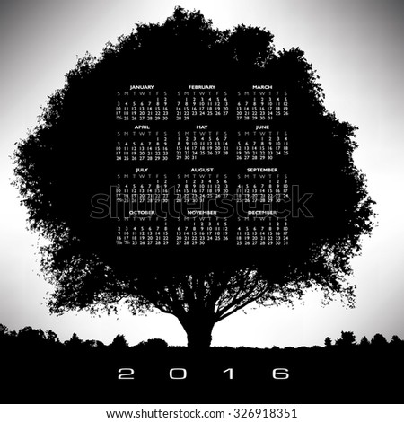 A 2016 tree and nature calendar - stock vector