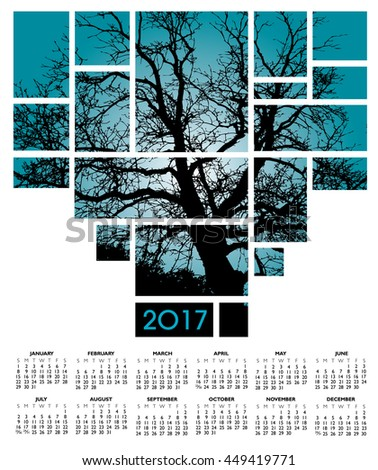 A 2017 tree and nature calendar  for print or web use - stock vector