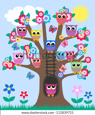 a tree full of owls - stock vector
