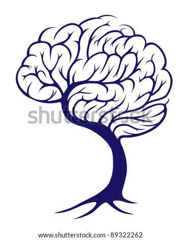 A tree growing in the shape of a brain - stock vector
