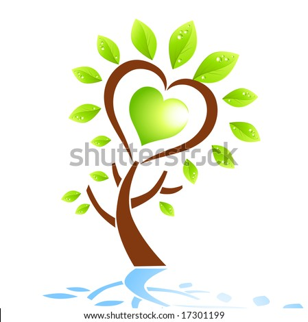 A tree in the shape of a heart. Vector illustration