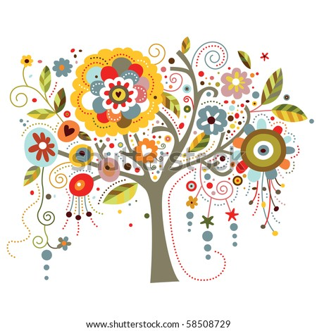 A tree richly adorned with whimsical flowers. - stock vector