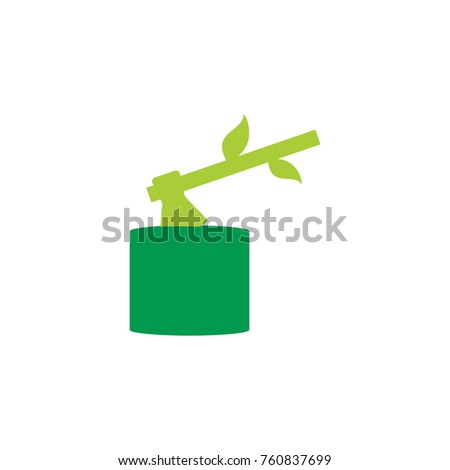 A tree stump with an ax stuck isolated on white background. Vector illustration in flat style